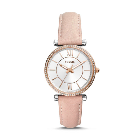 Fossil Ladies' Carlie Three Hand Blush Leather Watch ES4484