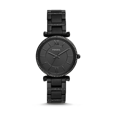 Fossil Ladies' Carlie Three-Hand Black Stainless Steel Watch ES4488