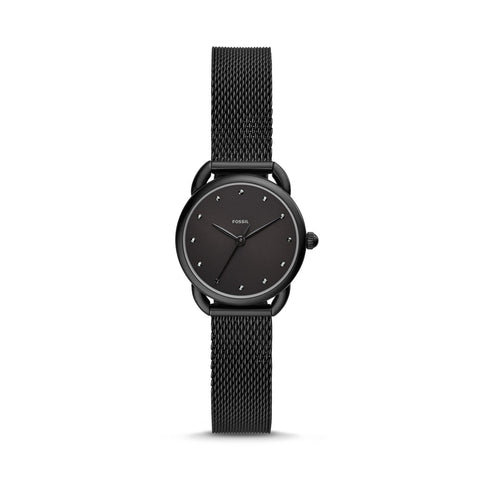 Fossil Ladies' Tailor Three-Hand Black Stainless Steel Watch ES4489