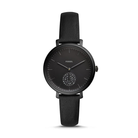 Fossil Ladies' Jacqueline Three-Hand Black Leather Watch ES4490