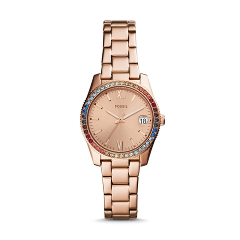 Fossil Ladies' Scarlette Mini Three-Hand Date Stainless Steel Watch ES4491