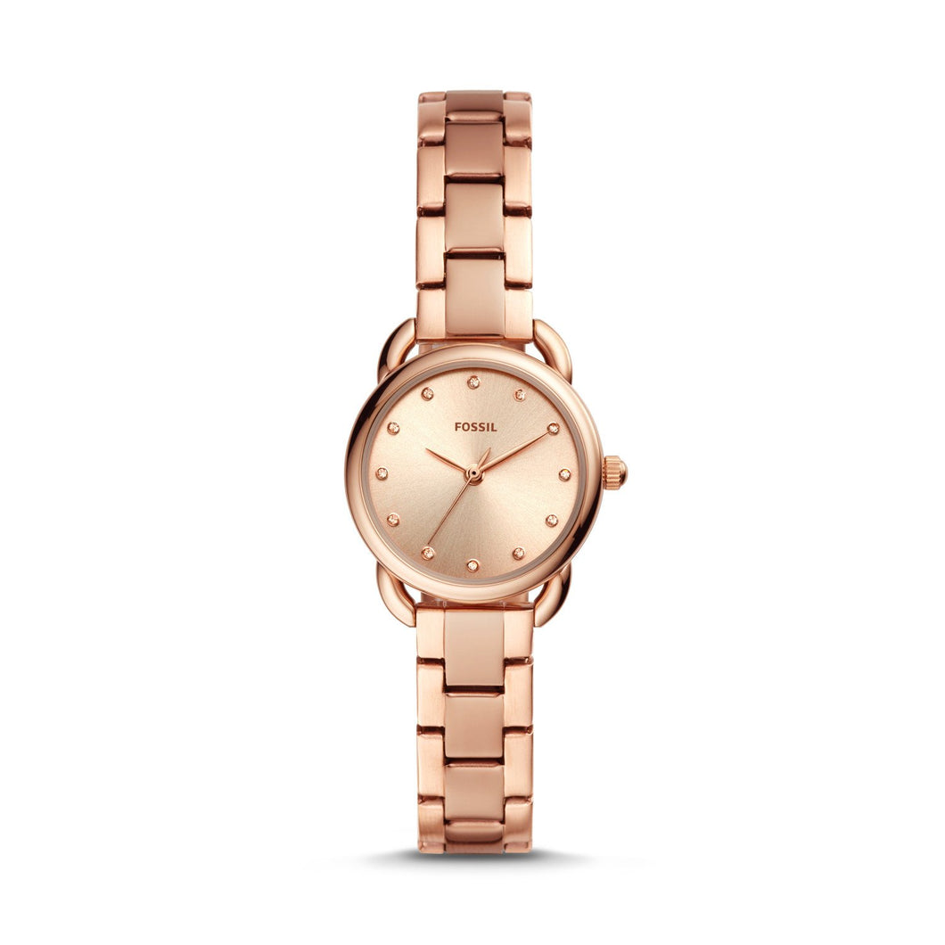 Fossil Ladies' Tailor Mini Three-Hand Rose Gold Tone Stainless Steel Watch ES4497