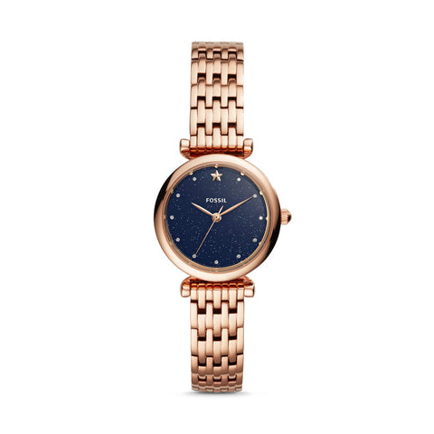 Fossil Ladies' Carlie Mini Three-Hand Rose Gold Tone Stainless Steel Watch ES4522