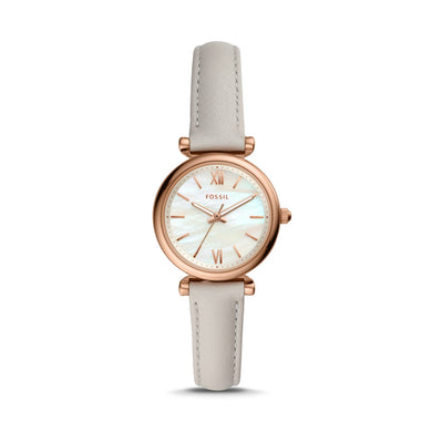 Fossil Ladies' Carlie Mini Three hand Mineral Grey Leather Watch ES4529