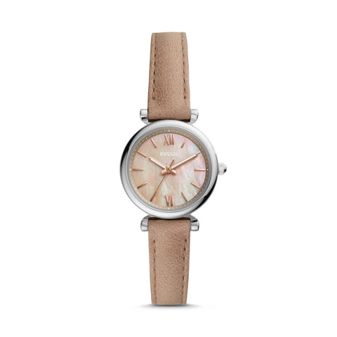 Fossil Ladies' Carlie Mini Three-Hand Sand Leather Watch ES4530