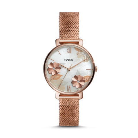Fossil Ladies' Jacqueline Three-Hand Rose Gold Tone Stainless Steel Watch ES4534