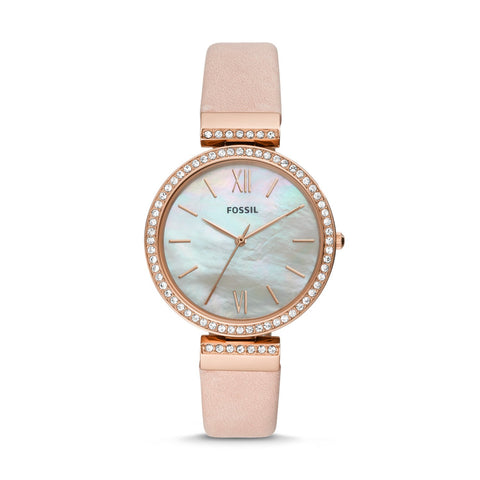 Fossil Ladies' Madeline Three-Hand Blush Leather Watch ES4537