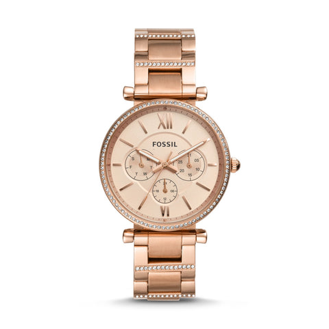 Fossil Ladies' Carlie Multifunction Rose Gold Tone Stainless Steel Watch ES4542