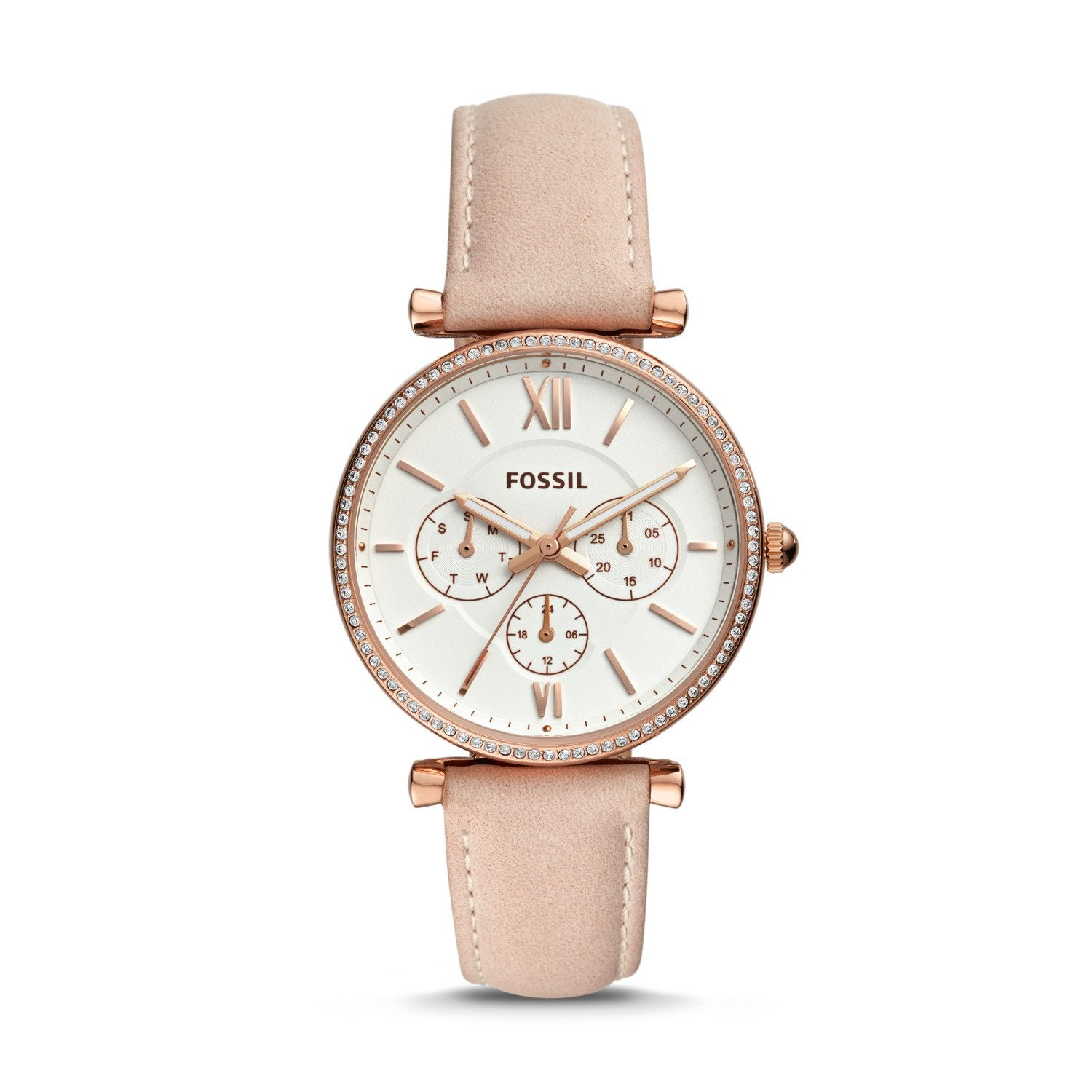 Fossil Ladies' Carlie Multifunction Rose Gold Tone Leather Watch ES4544