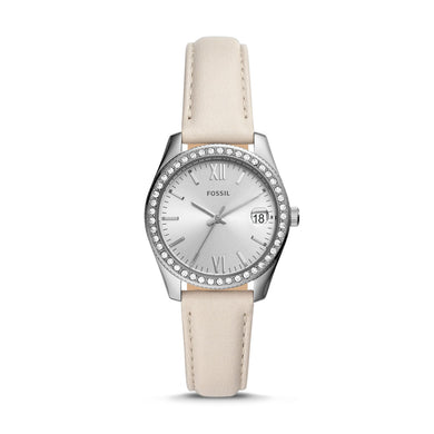 Fossil Ladies' Scarlette Mini Three-Hand Date Winter White Leather Watch ES4555