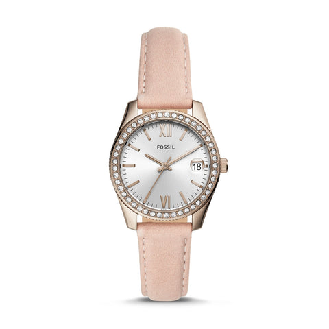 Fossil Ladies' Scarlette Mini Three-Hand Date Blush Leather Watch ES4557