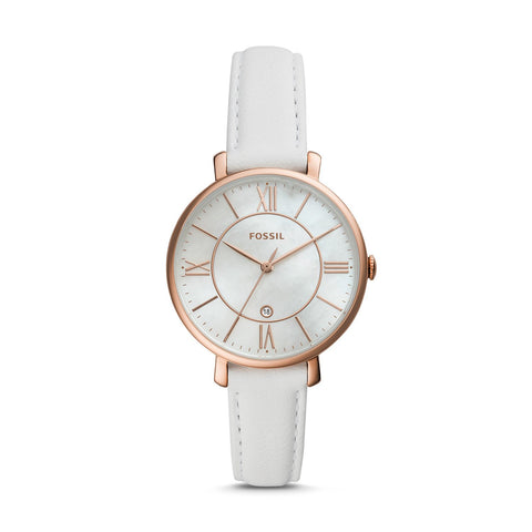 Fossil Ladies' Jacqueline Three Hand Date White Leather Watch ES4579