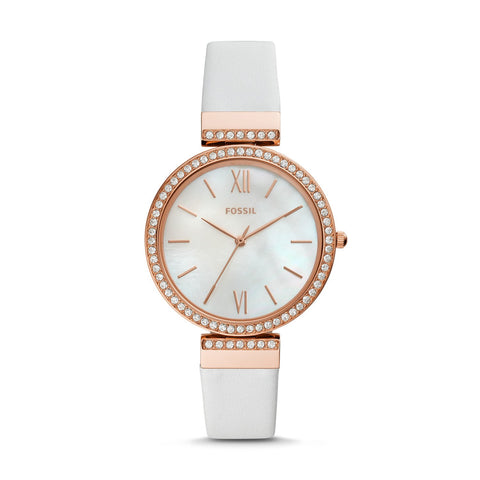 Fossil Ladies' Madeline Three Hand White Leather Watch ES4581