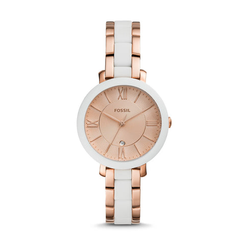 Fossil Ladies' Jacqueline Three-Hand Date Rose Gold Tone Stainless Steel Watch ES4588