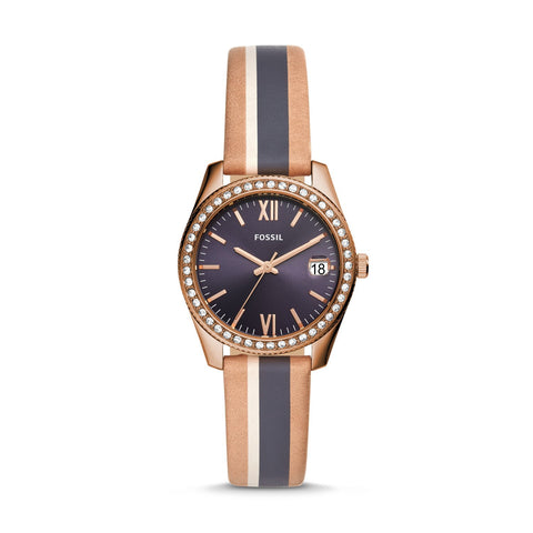Fossil Ladies' Scarlette Mini Three-Hand Date Striped Sand Leather Watch ES4594