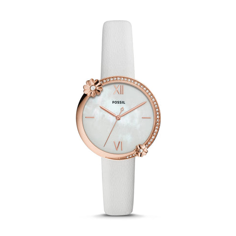 Fossil Ladies' Presley Three Hand White Leather Watch ES4601