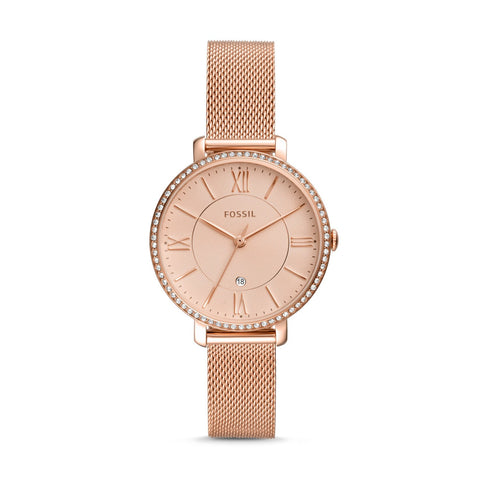 Fossil Ladies' Jacqueline Three-Hand Date Rose Gold Tone Stainless Steel Watch ES4628