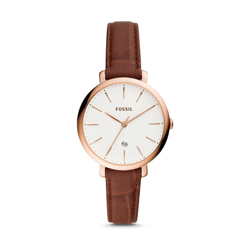 Fossil Ladies' Jacqueline Three-Hand Date Brown Leather Watch ES4629