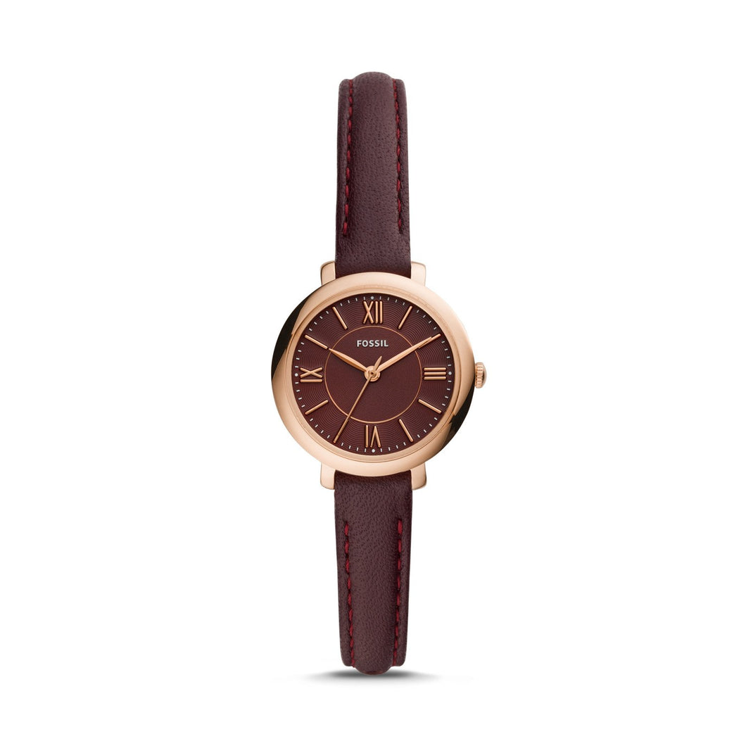 Fossil Ladies' Jacqueline Mini Three-Hand Fig Leather Watch ES4634