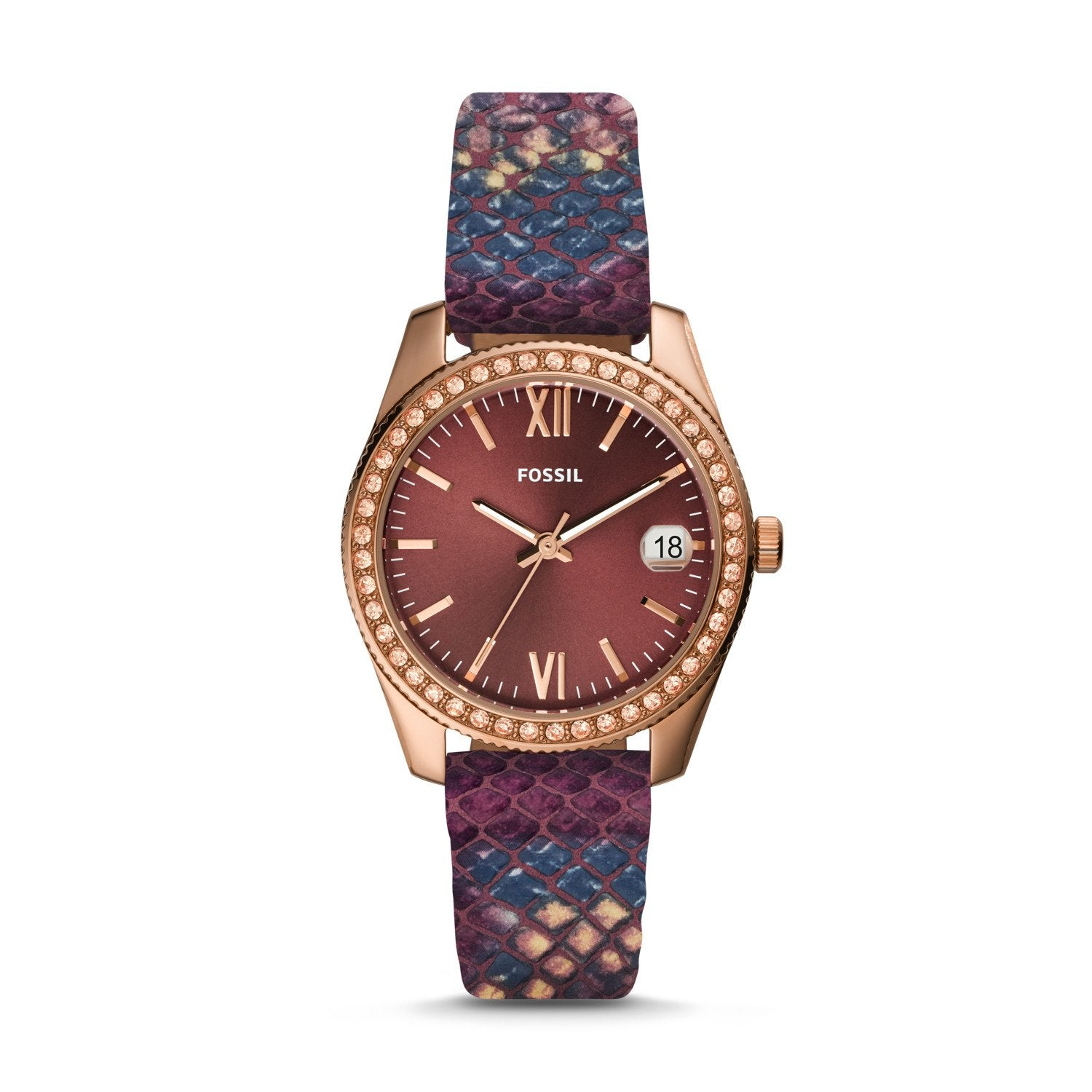 Fossil Ladies' Scarlette Mini Three-Hand Date Fig Leather Watch ES4637
