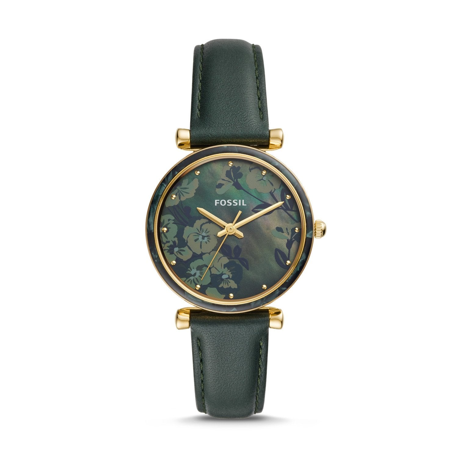 Fossil Ladies' Carlie Three-Hand Dark Green Leather Watch ES4654