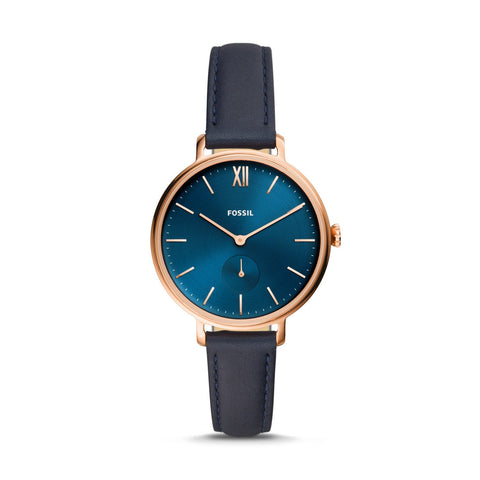 Fossil Ladies' Kayla Three-Hand Navy Leather Watch ES4663