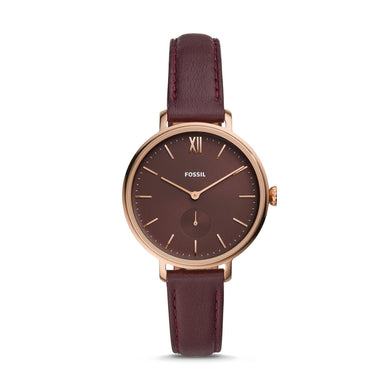 Fossil Ladies' Kalya Three-Hand Fig Leather Watch ES4665