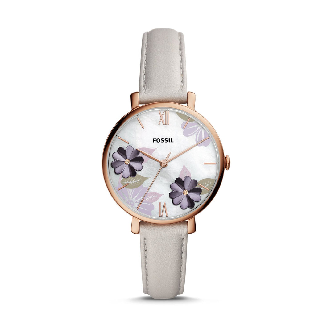 Fossil Ladies' Jacqueline Three-Hand Mineral Grey Leather Watch ES4672