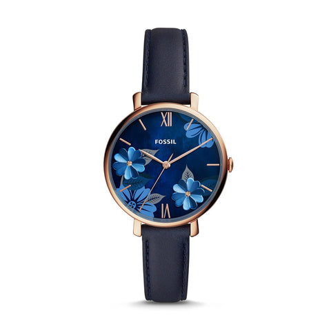 Fossil Ladies' Jacqueline Three-Hand Navy Leather Watch ES4673