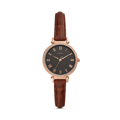Fossil Ladies' KinseyThree-Hand Brown Leather Watch ES4682