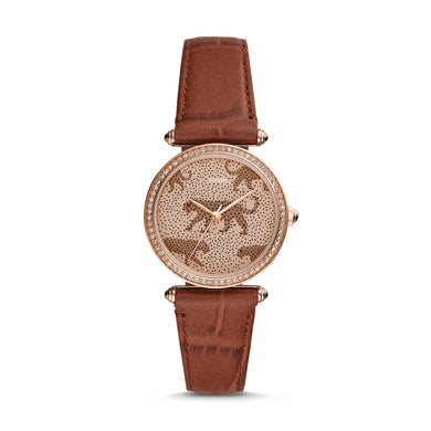 Fossil Ladies' Lyric Three-Hand Brown Leather Watch ES4683