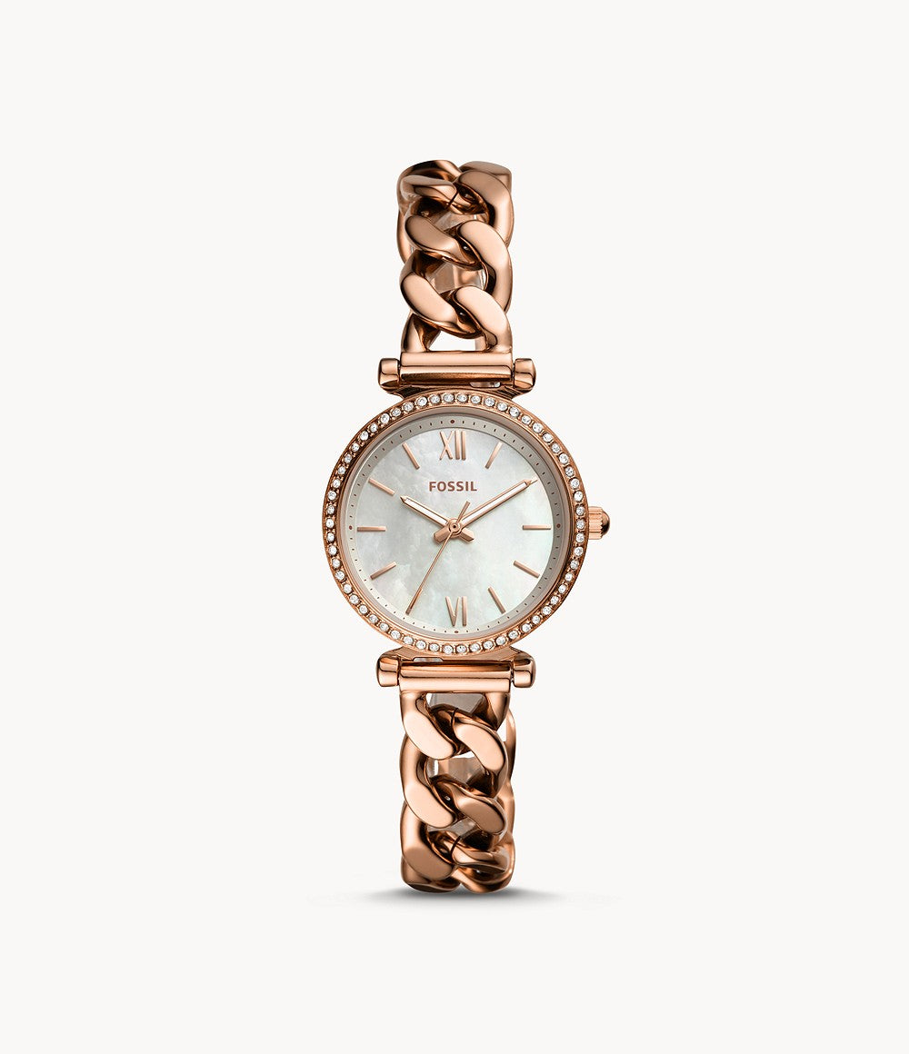 Fossil Ladies' Carlie Mini Three-Hand Rose Gold Tone Stainless Steel Band Watch ES4688