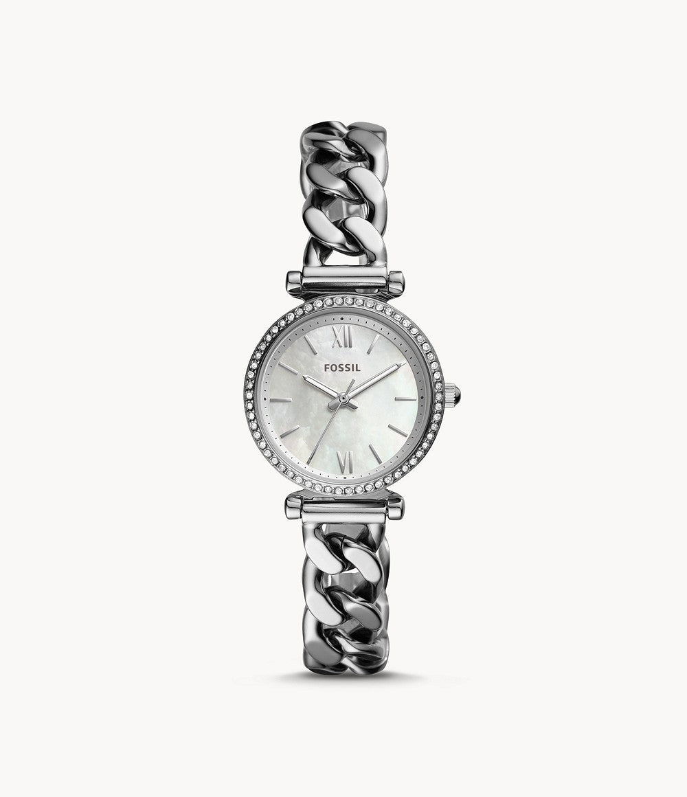 Fossil ladies' Carlie Mini Three-Hand Stainless Steel Watch ES4689