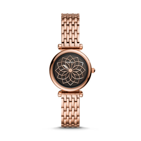 Fossil Ladies' Carlie Mini Three-Hand Rose Gold-Tone Stainless Steel Watch ES4691