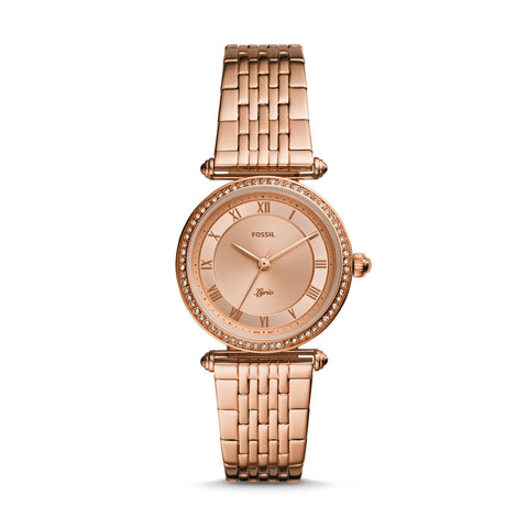 Fossil Ladies' Lyric Three-Hand Rose Gold-Tone Stainless Steel Watch ES4711