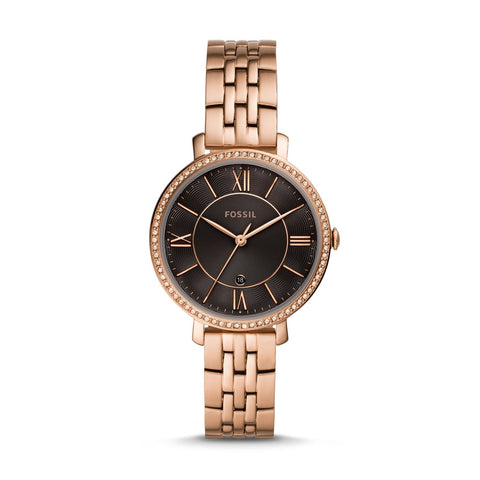 Fossil Ladies' Jacqueline Three-Hand Rose Gold-Tone Stainless Steel Watch ES4723