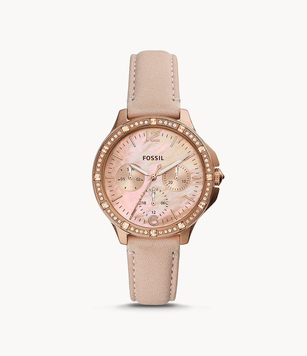 Fossil Ladies' Finley Multifunction Blush Leather Watch ES4790