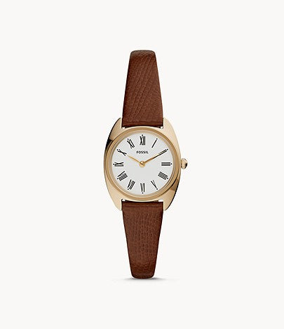 Fossil Ladies' June Mini Two Hand Brown Leather Watch ES4803