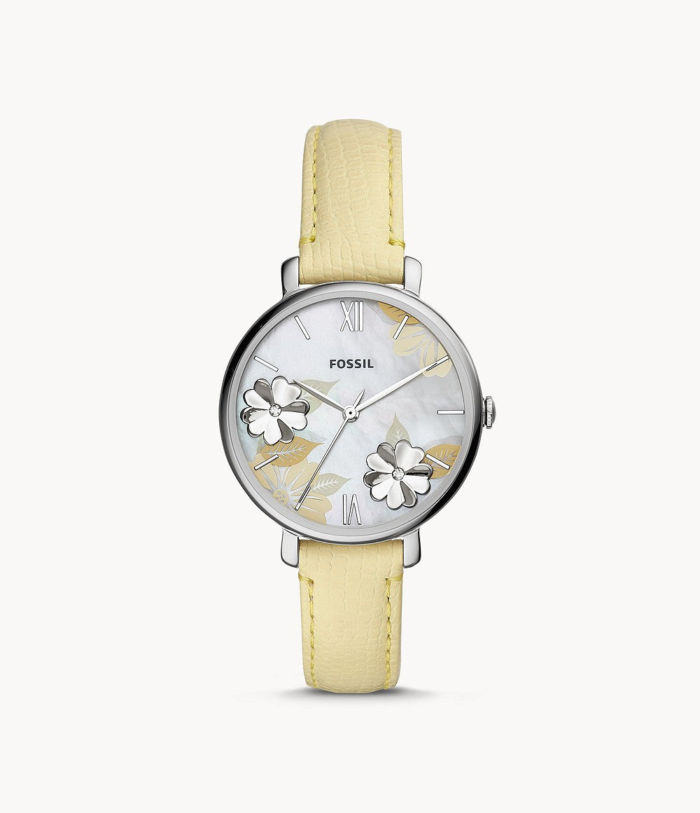 Fossil Ladies' Jacqueline Three-Hand Lemon Leather Watch ES4812