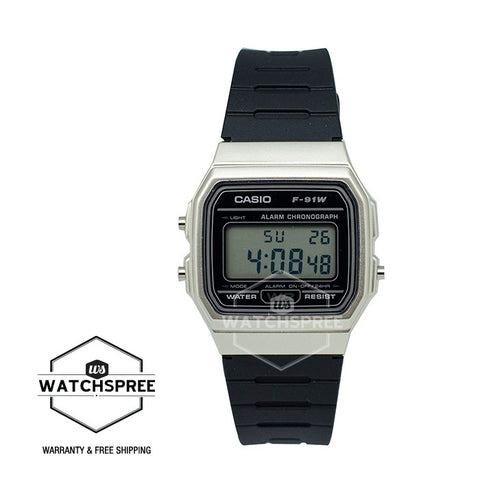 Casio Standard Digital Black Resin Band Watch F91WM-7A