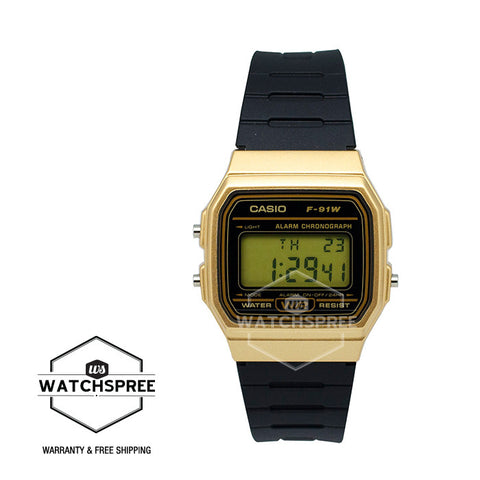 Casio Standard Digital Black Resin Band Watch F91WM-9A