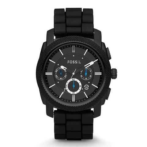 Fossil Men's Machine Chronograph Black Silicone Strap Watch FS4487