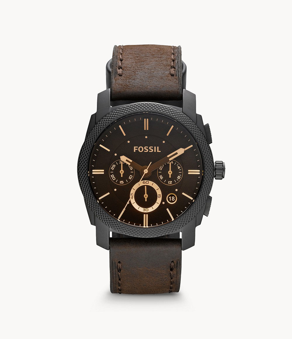 Fossil Men Machine Mid-Size Chronograph Brown Leather Watch FS4656