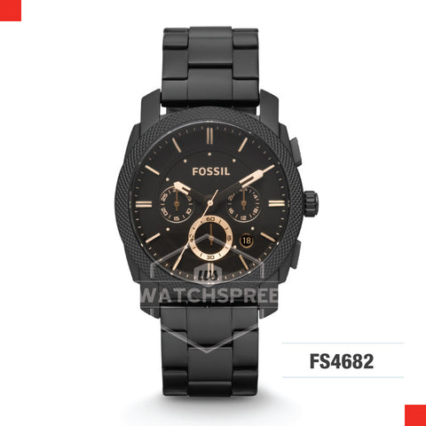 Fossil Men Machine Mid-Size Chronograph Black Stainless Steel Watch FS4682