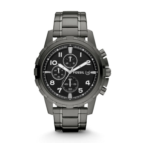 Fossil Men's Dean Chronograph Smoke Stainless Steel Band Watch FS4721