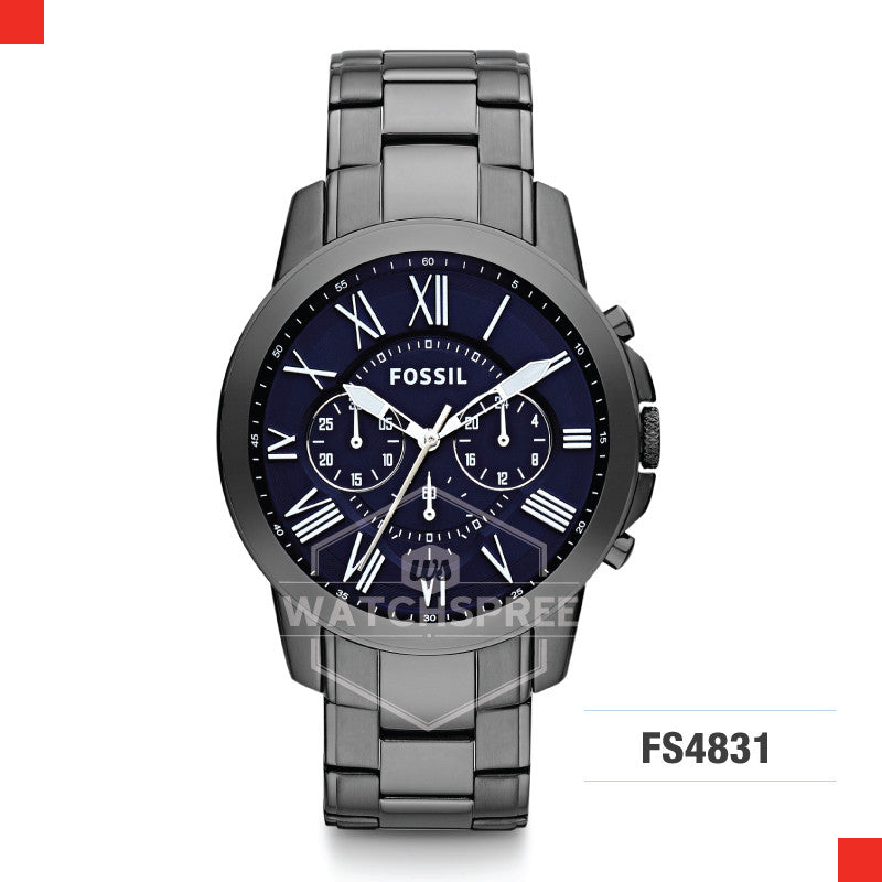 Fossil Men Grant Chronograph Smoke Stainless Steel Watch FS4831