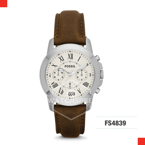 Fossil Men Grant Chronograph Brown Leather Strap Watch FS4839