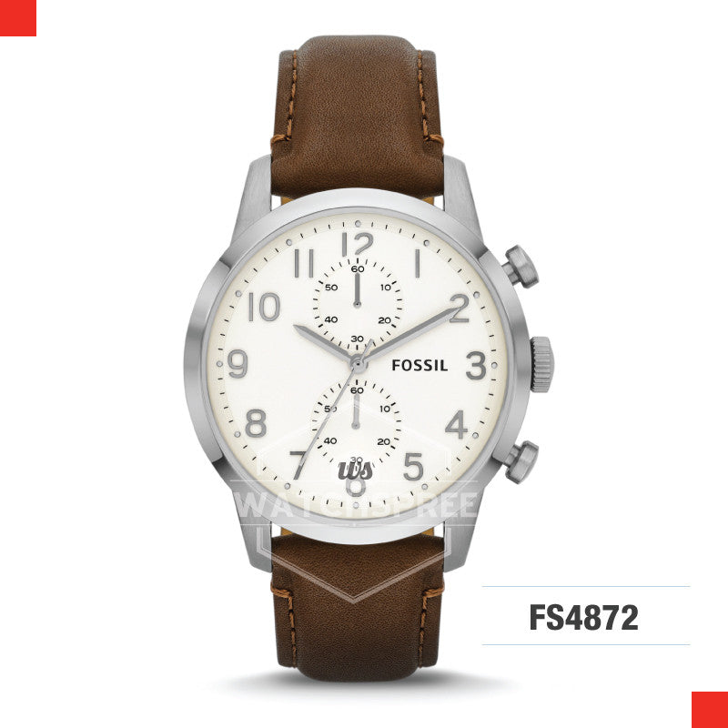 Fossil Men Townsman Chronograph Brown Leather Watch FS4872