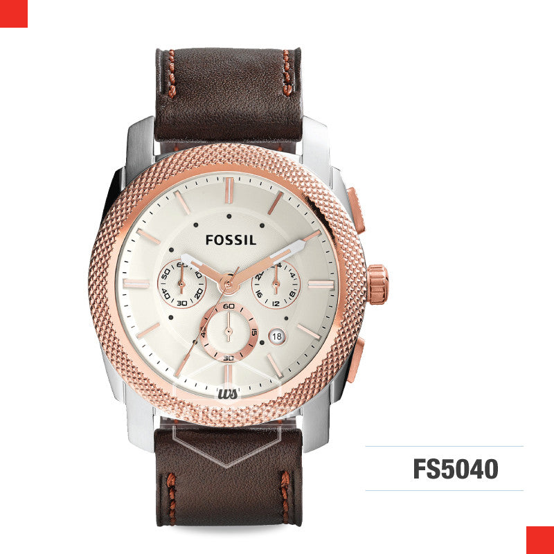 Fossil Men Georgia Cordell Rose-Tone Stainless Steel Watch FS5040