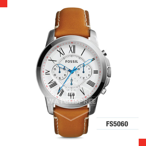 Fossil Men Grant Chronograph Tan Leather Watch FS5060
